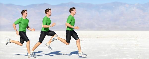 Athlete running man - runner in speed