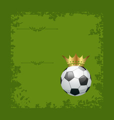 Football retro grunge card with ball and crown