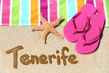 Tenerife beach travel background
