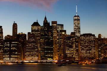 view of new york city at sunset