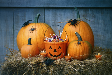 Pumpkins, spiders and Halloween candy