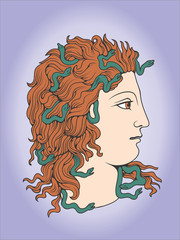 head of Jelly-fish Gorgon with snakes in hair