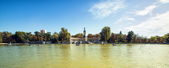 Panoramic of Monument to Alonso XII in Buen Retiro park, Madrid,
