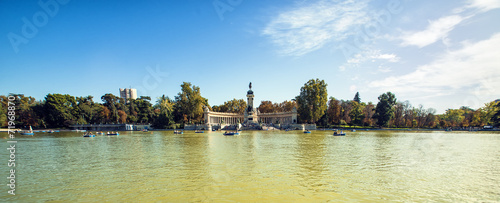 Plexiglas Madrid Panoramic of Monument to Alonso XII in Buen Retiro park, Madrid,