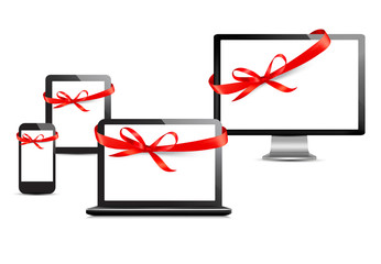 Set of digital devices with gift ribbons and bow. Vector