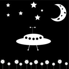UFO and Moon