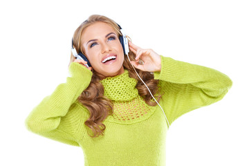 Happy woman enjoying her music