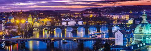 Staande foto Praag Bridges in Prague over the river at sunset