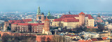 Cracow skyline with aerial view of historic royal Wawel Castle a
