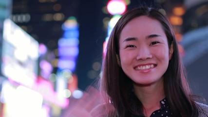 Young Asian Woman smile happy face portrait