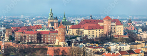 Cracow skyline with aerial view of historic royal Wawel Castle a - 71971297