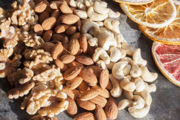 Walnuts, cashew nuts and almonds