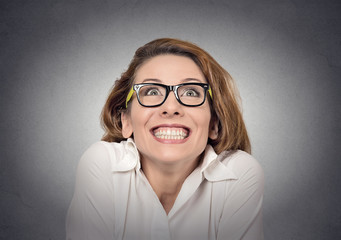 Portrait super excited girl looking up isolated grey background