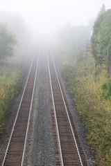 Foggy morning in railroad tracks