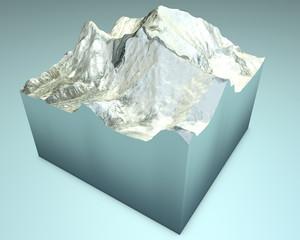 Lhotse e Everest. Montagne Himalaya. Vista satellitare 3d