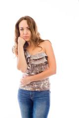 model isolated on plain background bored upset