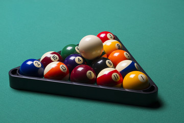 arranged billiard balls; macro;