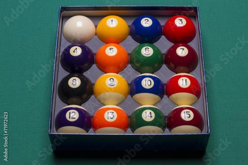 Staande foto Billiard balls set in a box