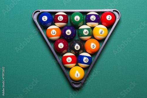 Staande foto Billiard balls arranged in a triangle