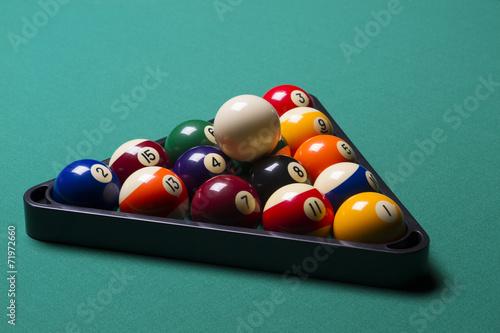 Staande foto arranged billiard balls; macro;