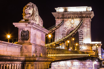 Night view of the famous Chain Bridge in Budapest, Hungary. The