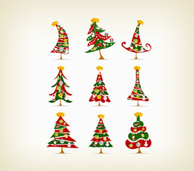 set vintage christmas tree with icon and element