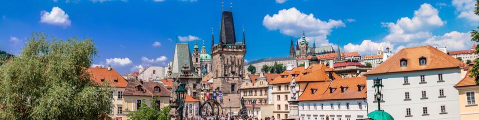 Karlov or charles bridge in Prague in summer