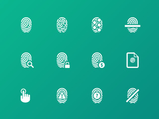 Fingerprint protection icons on green background.