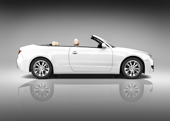 Contemporary Shiny White Convertible Vehicle