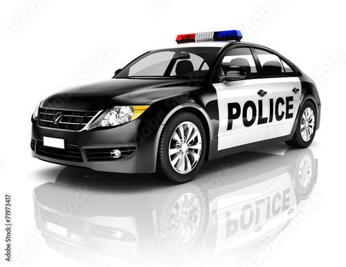 Side View Studio Shot Of Black Sedan Police Car - 71973417