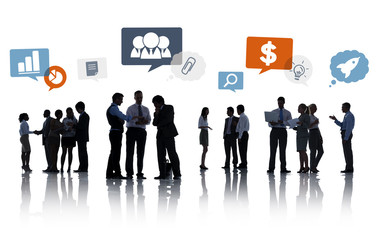 Group of Business People with Speech Bubbles
