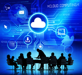 Group of Business People Discussing About Cloud Computing