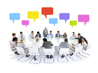 Large group of business people meeting speech bubbles
