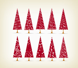 vintage christmas trees set