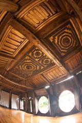 Myanmar art on ceiling at wood Church in temple,Myanmar.
