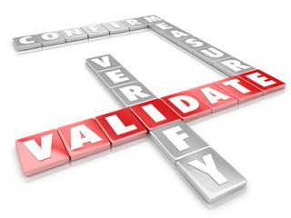 Validate Word Letter Tiles Certify Verify Confirm Measure