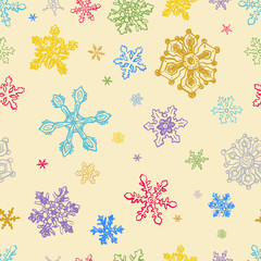 Seamless Pattern of Colorful Snowflakes