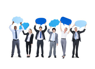 Cheerful Corporate People Holding Speech Bubbles