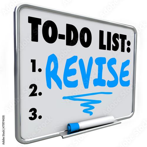 canvas print picture Revise Word To Do List Make Change Improvement Fix Problem