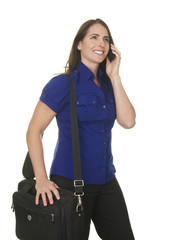 Confident Business Woman with Laptop Bag and Cell Phone