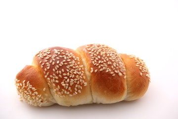 bread with sesame on white background.