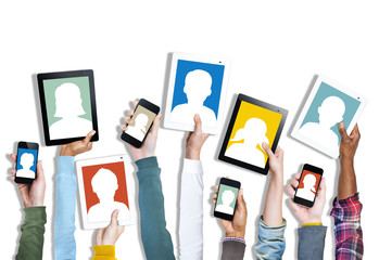 Group of Hands Holding Digital Devices with Avatar