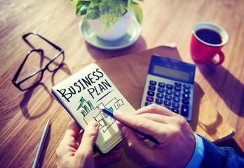 Businessman Writing Business Plan Growth