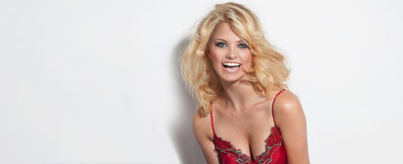 Attractive blonde happy woman