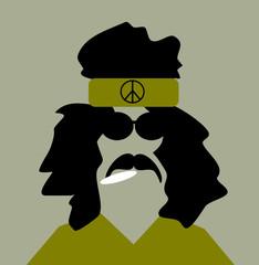 hippie man wearing peace headband