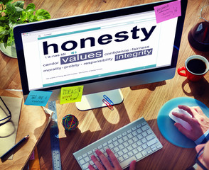 Businessman Searching about the Word Honesty