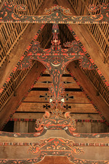 Traditional decoration of Batak house on Samosir island, Sumatra