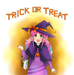 Pretty witch of Halloween in Japanese manga style with text, cre