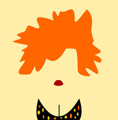 woman with orange hair and polka dot bikini