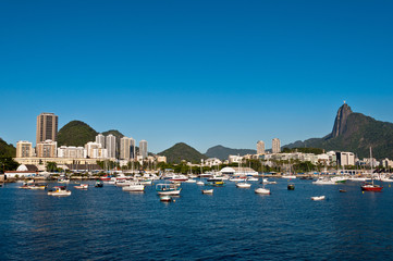 Rio de Janeiro City with Christ the Redeemer and Boats